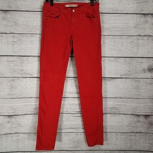 Zara Collection Core Denim Red Skinny Slim Jeans 6